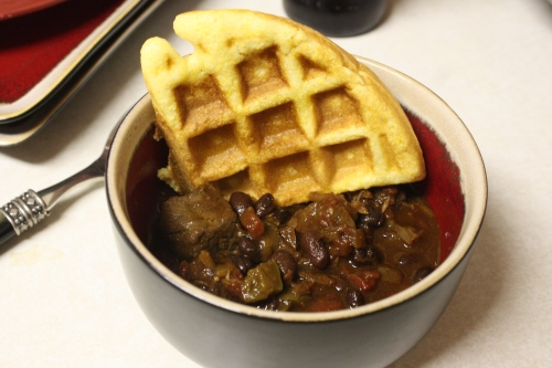 Steak and Black Bean Chili with Cornbread Waffles