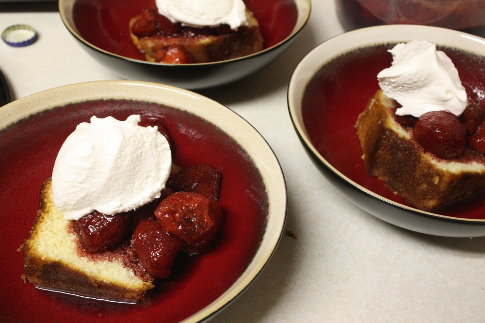 Balsamic Strawberries and pound cake (recipe for another day!)